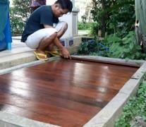 งานติดตั้ง พื้นไม้ระแนง